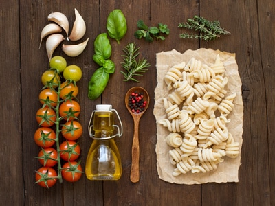 food staples on a cutting board