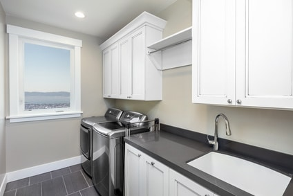 White and black laundry room