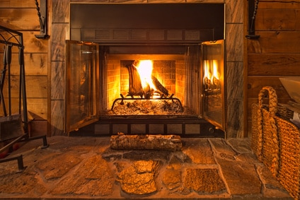 fire in a cozy fireplace