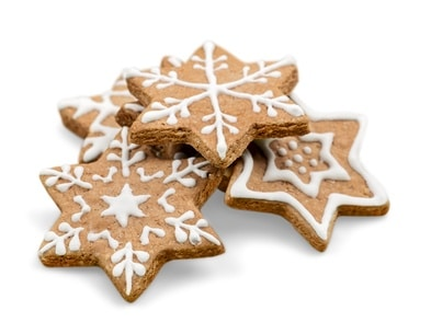 Gingerbread star cookies with white frosting